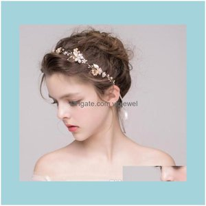 Wedding Jewelry Jewelrywedding Bridal Freshwater Pearl Headband Ribbon Crystal Rhinestone Crown Tiara Headpiece Flower Headdress Gold Hair A