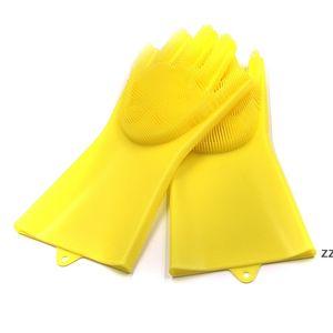 غسل الصحون قفازات سيليكون قفازات تنظيف فرشاة الغسيل سيليكون قفازات المطبخ مقاومة للحرارة لتنظيف سيارة الحيوانات الأليفة العناية بالشعر HWE7374
