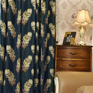 Luxury European Gold Feather Curtains For Living Room Jacquard Blackout Chenille Elegant Parlor Sliding Door Drapes Curtain