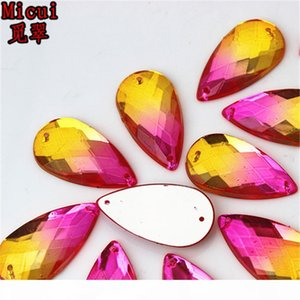 50pcs 16*30mm Double color Acrylic crystal Drop shape sew on rhinestone silver base flatback Beads with 2 holes Accessories ZZ97
