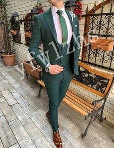 Classic One Button Wedding Tuxedos Peak Lapel Slim Fit Suits For Men Groomsmen Suit Prom Formal (Jacket+Pants+Vest+Tie) W795