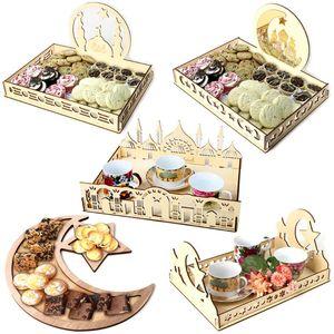 Wood Islamic Eid Al-Fitr Ramadan Al-Adha Holiday Table Decor Dessert Tray Crafts Gift Party Cupcake Boxes Room Decoration Wrap