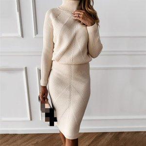 Maglia da maglieria da donna autunno TurtrleNeck Solid Color Maglione pullover a colori + Gonna sottile Set di due pezzi Abiti da lavoro