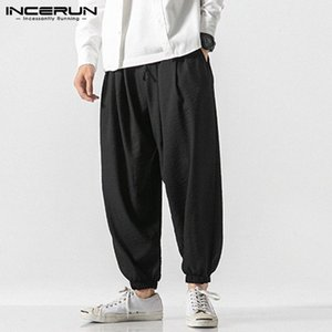INCERUN Men Casual Pants Drawstring Solid Color Joggers Vintage Streetwear 2020 Loose Men Harem Pants Chinese Style Pantalon 5XL w0lh#