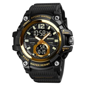 SKMEI 2021 Men Military Sport Wrist PU Band Dual Display Watches Black Waterproof Mens Watch LED Quartz Clock Relogio