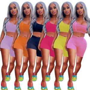 Летние сексуальные два куска набор Womens Tracksuits шорты наряды без рукавов спортивная одежда бежевая спортивная спортивная рубашка брюки костюмы толстовки спортивный костюм продают KLW6328