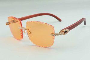 2021 Designer Sonnenbrillen 3524023 Mittlere Diamanten schneidet Objektiv natürliche original original holztempel gläser, größe: 58-18-135mm