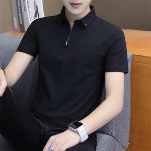 Luxury T-shirts 2021 Summer Short T-shirt Slim Half Sleeve Trend Polo Shirt Men's Cotton T-shirt with Collar