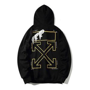 M-XXL Off Tshirt Noir T-shirt Chemises 19SS Bronzing arrow Fil d'or Limite Couple Couple Sweater Trend Automne et hiver