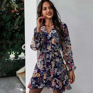 Весна Новое Платье для печати Женщины Повседневная Полный Рукавом Кружева Высокое Цветочное платье для Женщин 2021 Летний Шифон