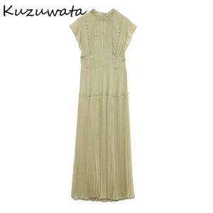 Kuzuwata primavera nuevo pliegrafía plisada vestidos de cintura delgada elegante fresco alta cintura para mujer vestido sexy ahueza los vestidos 210329