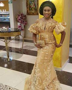 ASO EBI Afrikanische Spitze Abendkleid Meerjungfrau aus der Schulter Nigerianischer Stil Prom Kleider plus Größe Glänzende Pailletten Gold Formal Kleid