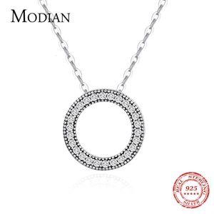 Modian redondo Romántico Real 925 Sterling Silver Hearts Collar para las mujeres Fantastic Life Wedding Neckla