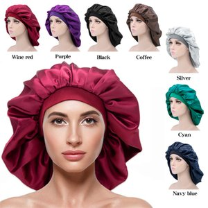 Ekstra Büyük Bonnet Şapka Saç Aksesuarları Kadınlar Büyük Boy Güzellik Baskı Saten Ipek Uyku Gece Kap Kafa Kapak Bonnets Şapkalar 10 adet