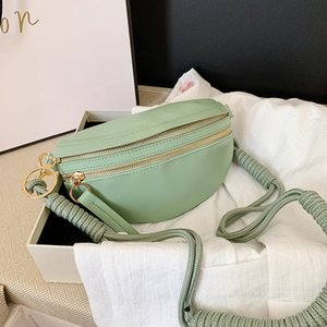 Fashion Rope Knot Dumpling Bag For Ladies Woven Shoulder Bags Casual Chest Bag Solid Color Crossbody Bags Simplicity Waist Bag C0326