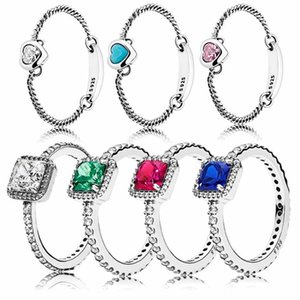 Sterling Silver 1:1 Red&Green&Blue&Clear Crystal Timeless Elegance Spirited Heart Femal Ring DIY Jewelry Cluster Rings