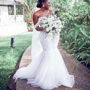 الأفريقية 2021 حورية البحر فساتين الزفاف زائد حجم قبالة الكتف الرباط يزين أثواب الزفاف الفتيات السود تول vestidos دي novia