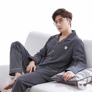 2 piezas / set Hombre 100% algodón inicio ropa pijamas elegante masculino casual ropa de dormir otoño invierno grande tamaño cómodo dormir pijama l4me #