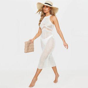 Traje de baño de las mujeres 2021 Bikini de punto Cubierta por el vestido maxi sin mangas Playa UPS Ver a través de la túnica de ganchillo Kaftan Pareo Sarong