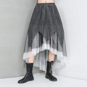 Skirts Irregular Hem Tulle Skirt Women Plus Size Patchwork Mesh Summer 2021 Stylish Elastic Waist Casual Curved Wave Cut