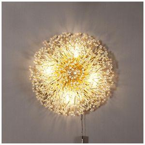 Modern Nordic Crystal Ball LED Wall Lamp Lights Sconce Bedside Metal Glass Vanity Light Lighting Bedroom Bathroom Decorationl Lamps