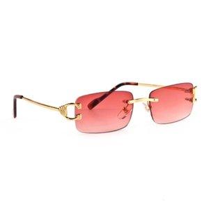 Esporte de moda vermelha para homens unisex buffalo chifre óculos homens mulheres sem aro sol óculos de ouro ouro quadro de metal óculos lunettes