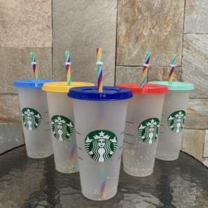 Starbucks Plastic cups grade fine color changing Tumblers rainbow straws high transparency Drink ware and coffee Flat Bottom Pillar Shape Lid Mugs Bardian 50 PCS DHL