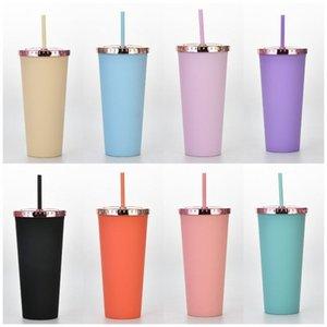 700 ملليلتر البلاستيك القش أكواب ماتي النهاية قابلة لإعادة الاستخدام طبقة مزدوجة البلاستيك لون بهلوان تغيير فنجان القهوة مع غطاء البحر إرسال T9I001217