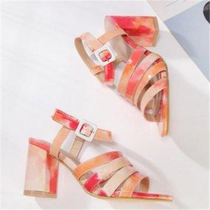 Women Rainbow Color All-Match Thick Bottom Sandals Ladies Fashion Peep Toe High Heel Shose Four Seasons Zapatos De Mujer Dress Shoes