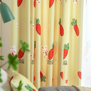 Curtain & Drapes Curtains For Living Room 2021 Korean Pastoral Cartoon Cute Wind Stitching Bay Window Floor Dining Bedroom