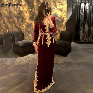 SMILEVEN MOROCCO CAFTAN вечерние платья V шеи русалка выпускное платье бархат с длинным рукавом формальная вечеринка