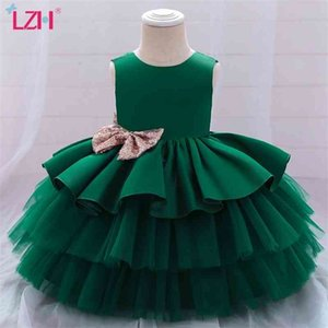 LZH 2021 Baby Girls Princess Sleeveless Bow Christmas Fashion Wedding Flower Girl Dress Sweet Newborn Clothe 210317