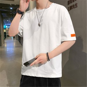 Luxury T-shirts Short T-shirt Men's Summer Versatile Round Neck Half Sleeve Solid Color Trend Loose Cotton Bottomed Top