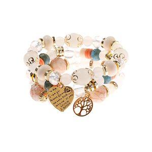 Boho Blue Beaded Bracelet Set Women's Ethnic Gold Color Tree Pendant Charm Bracelets & Bangles Yoga Friendship