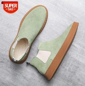 Snow boots men's cotton shoes cowhide suede leather warm fur one high-top men #xr2p