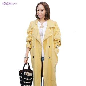 Primavera autunno femmina a vento giallo sottile casual plus size slim trench donne cappotto lungo IOQRCJV T279