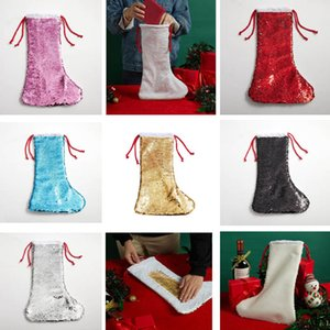 Sublimation Blank Sequin Christmas Stockings Personalized Xmas Stocking Holders Gold Flip Up Custom Kids Glittery Socks Decorations Home Decor FREE DHL HH21-450