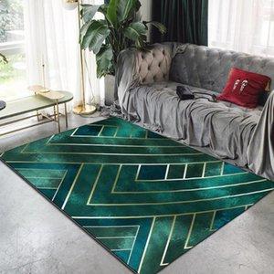Carpets Nordic Luxury Dark Green Gold Line Carpet Living Room Modern Decor Area Rug For Bedroom Kitchen Mat Anti Slip