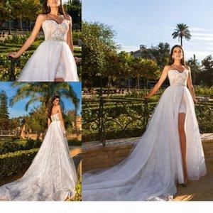 Beach Over Size Wedding Dresses with Detachable Train Spaghetti Straps Mini Short Vestidos de Noivas Bridal Gowns Custom