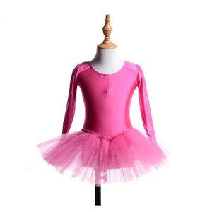 Stage Wear 2021 New Wholesale Long sleeve Training Leotard Girls Tutu dance Dress ballet skirt kids #0051