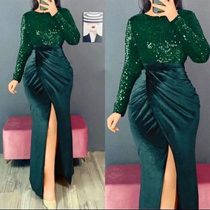 Ethnic Clothing Velvet Wedding Party Dresses Women 2021 Fashion African Sequin Evening Gowns Elegant Christmas Chic Sexy Slit Long Dress