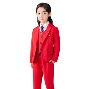 Girls Red Formal Suit Set Childrens Princess Wedding Show Host Costume Kids Blazer Vest Shirts Pants Tie Clothing Sets