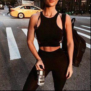 Sexy Womens Tanks Women Hollow Out Racerback Sports Top Female Sleeveless Fitness Gym Running Tank Vest Crop Activewear