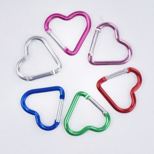 Carabiner Keyrings heart Shaped Keychain Outdoor Sports Camp Snap Clip Hook Hiking Aluminum Metal Convenient tool for Camping ZZE5253