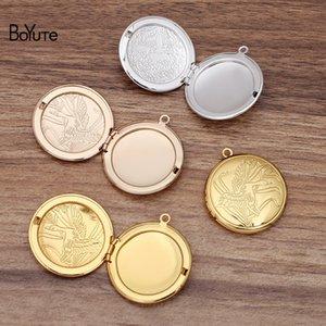 BoYuTe (10 Pieces Lot) Round 32*6MM Metal Brass Swan Floating Locket Can Open Diy Memory Photo Locket Pendant