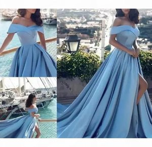 Sky Blue Satin Arabic Evening Dresses 2019 Off-Shoulder Side Split Vestido de Novia Formal Party Gowns Cheap Sweep Train Pageant Dress Prom