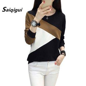 Saiqigui Moda Sonbahar Kore Kadınlar T Gömlek Rahat Gevşek Kadın Uzun Kollu T-shirt Patchwork Kazak Tops Artı Boyutu T200110
