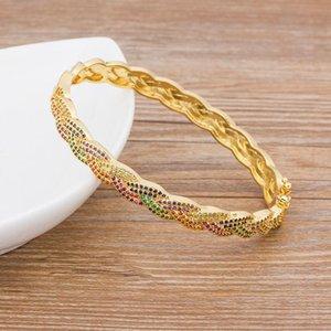Bangle 2021 Trendy Elegant Opening Cuff & Bracelet For Women Charm Gold Color Crystal Rainbow Bangles Romantic Wedding Jewelry