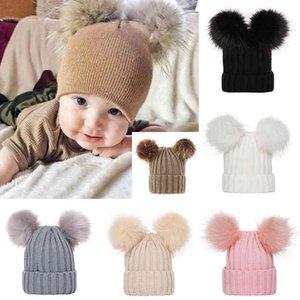 2020 Warm Beanie Cap Cute Lovely Outdoor Bonnet Enfant Hat Cute Baby Kids Winter Warm Knitted Hat Furry Balls Pompom for kids