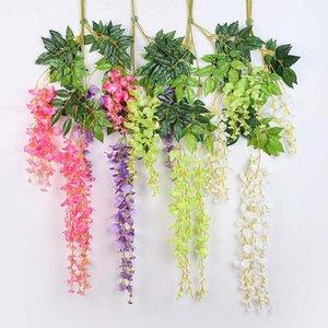 20 pçs / lote 110cm festa de casamento diy decoração floral roxo wisteria rattan pendurado flor artificial videira casa jardim decorativo decorativo